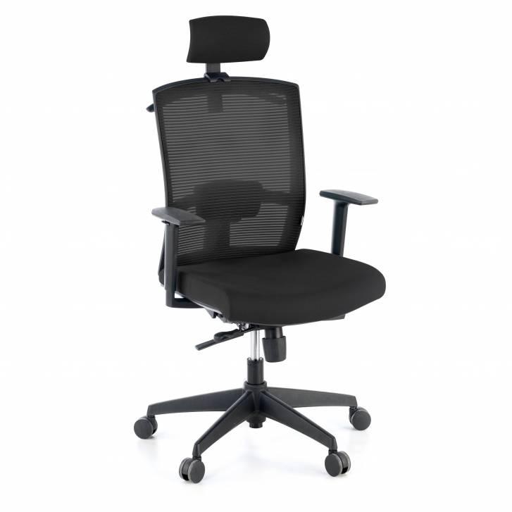 Kendo-Stuhl mit Kopfstütze, schwarz