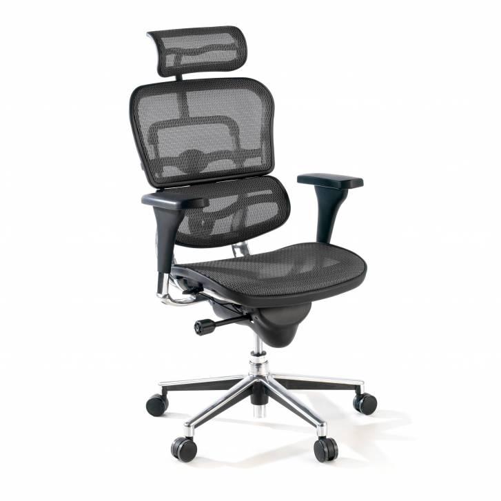 Keystone-Stuhl mit Kopfstütze, schwarz