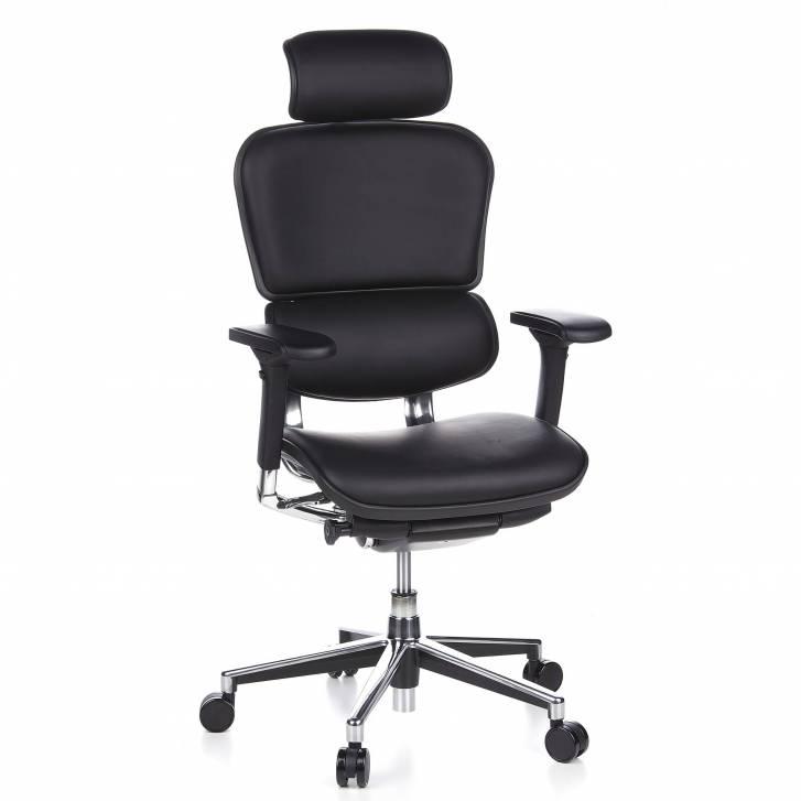 Keystone-Stuhl Leder mit Kopfstütze, schwarz