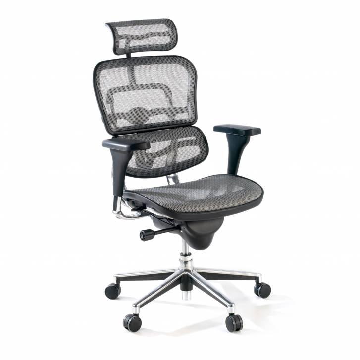 Keystone-Stuhl mit Kopfstütze, grau