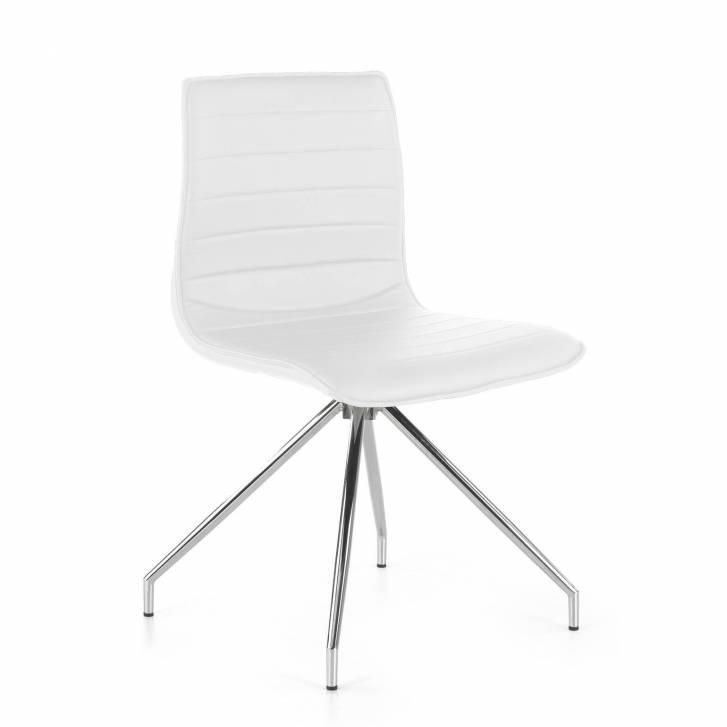 Cube Chair Swivel Chrome White