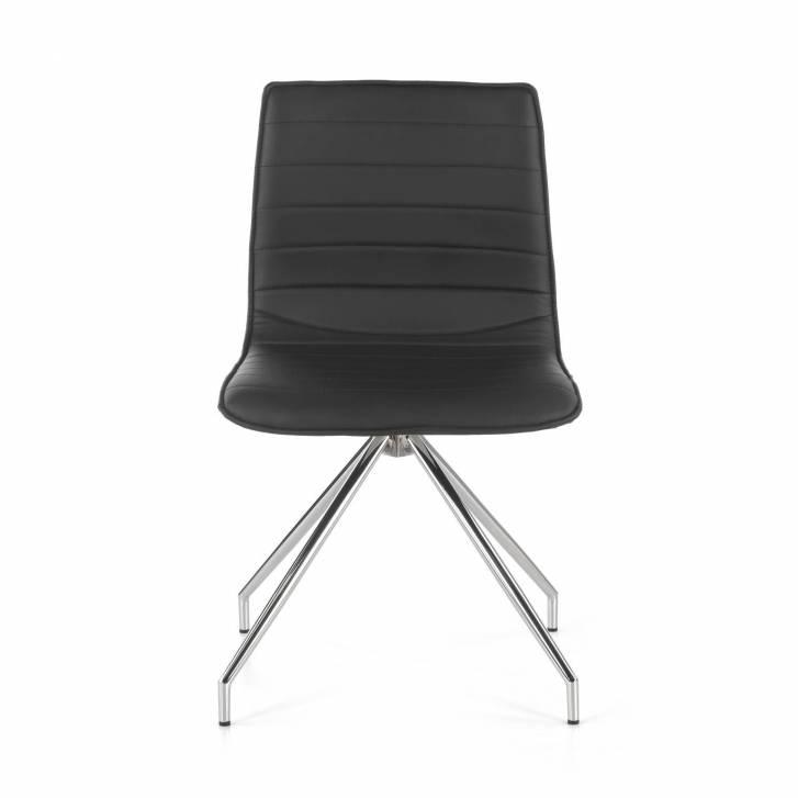 Cube Chair Swivel Chrome Grey