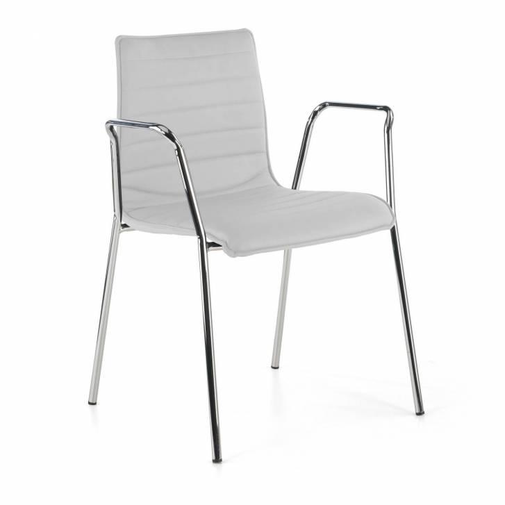 Cube Chair 4-legged w/Armrests Chrome White