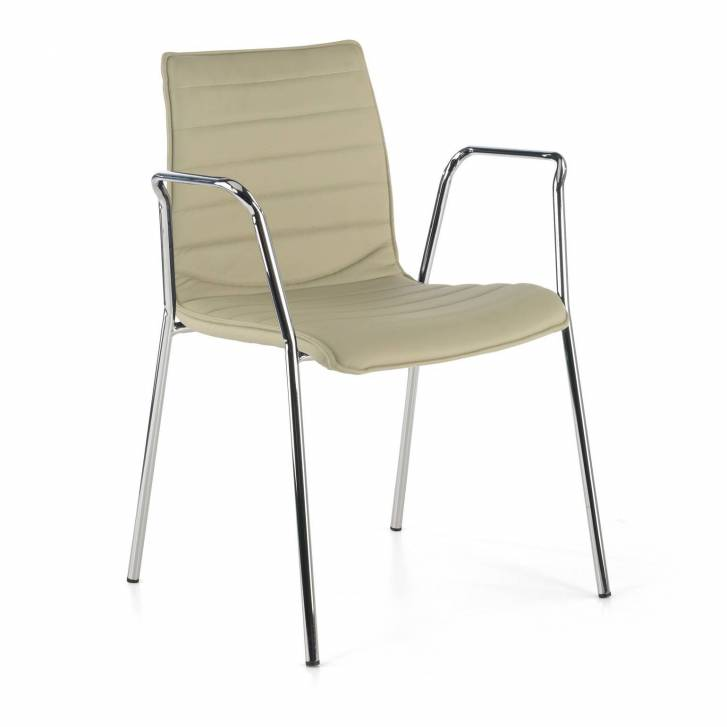 Cube Chair 4-legged w/Armrests Chrome Beige