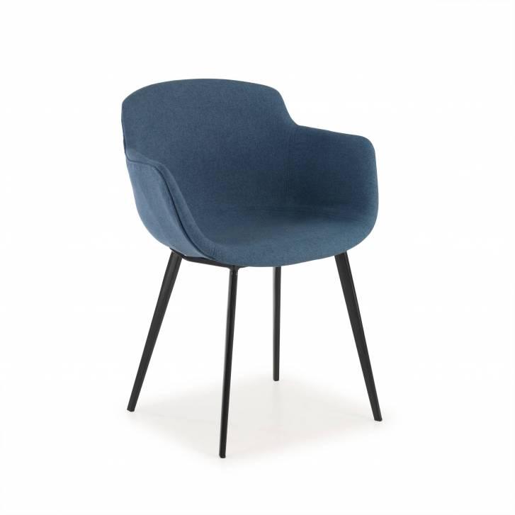 Ivonne Stuhl 4 Beine, gepolstert in blau