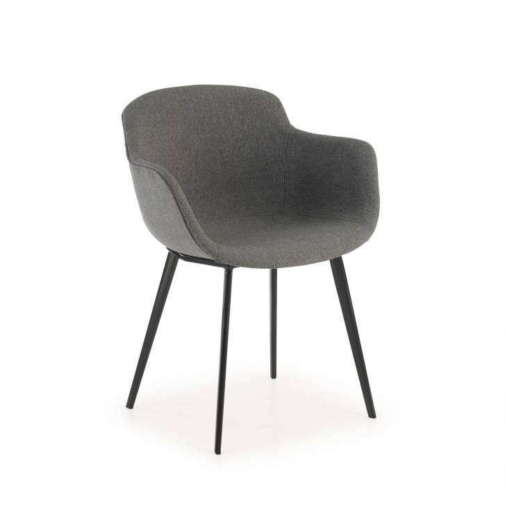 Ivonne Stuhl 4 Beine, Sitz gepolstert in schwarz
