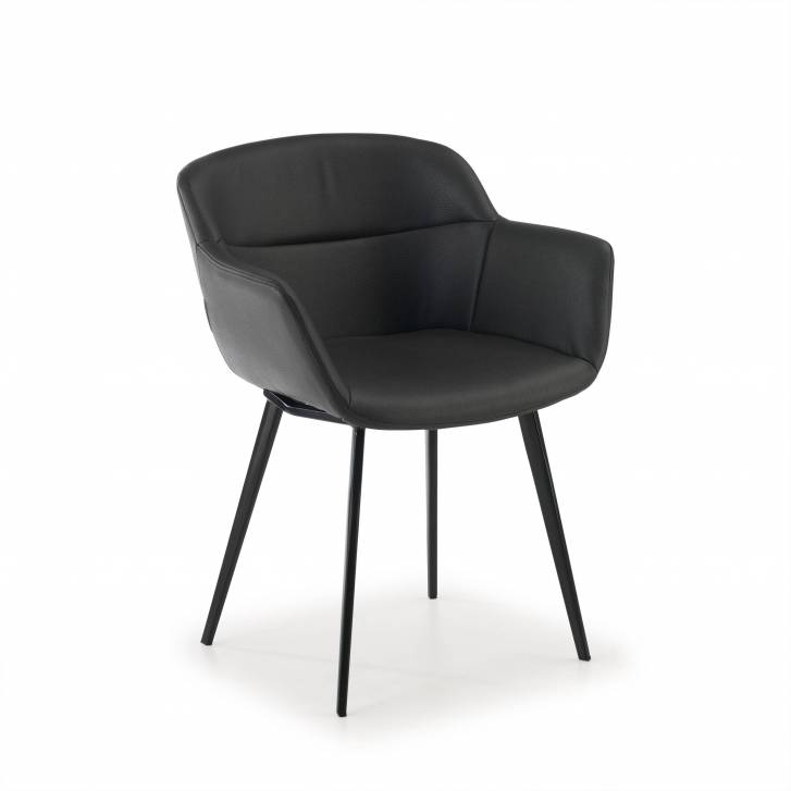 Anne Chair 4-legged Ecoleather Seat Black
