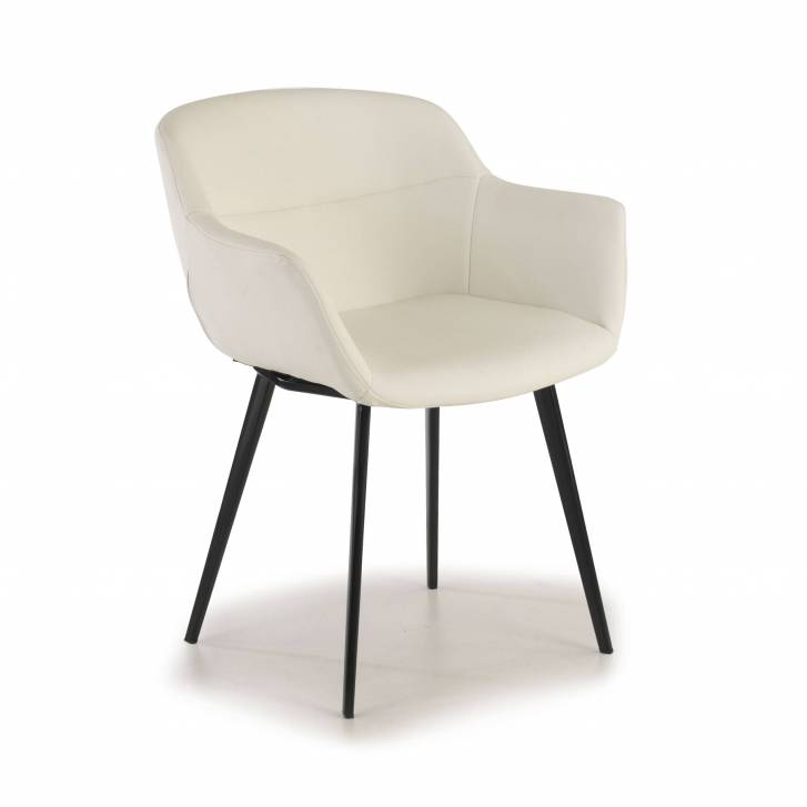 Anne Chair 4-legged Ecoleather Seat White