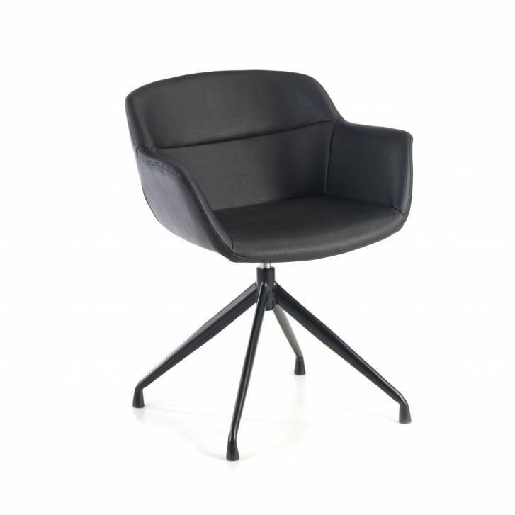 Anne Chair Swivel Ecoleather Seat Black