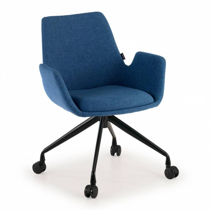 Elodie Chair Swivel wheeled Upholstered Blue