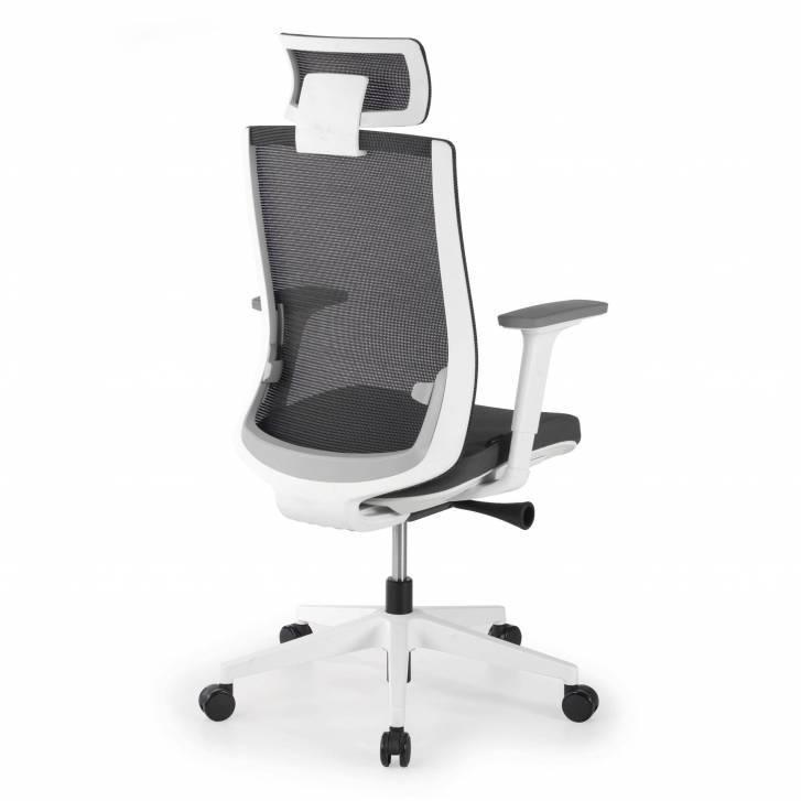 Boston white chair grey mesh