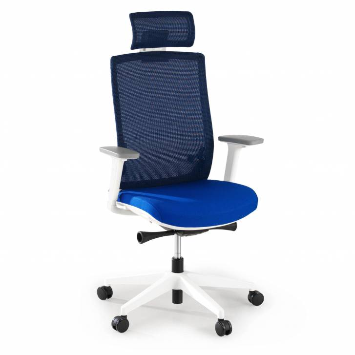Boston white chair blue mesh