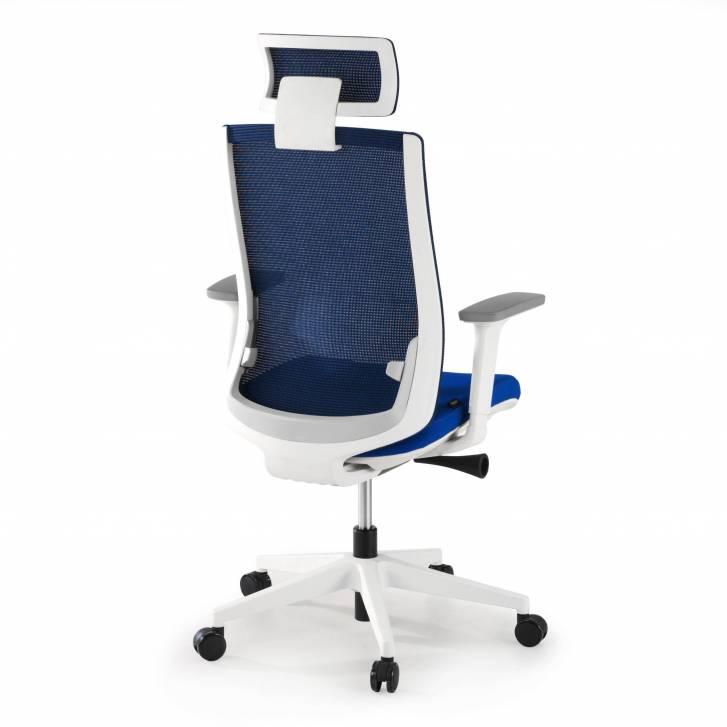 Boston white chair blue mesh