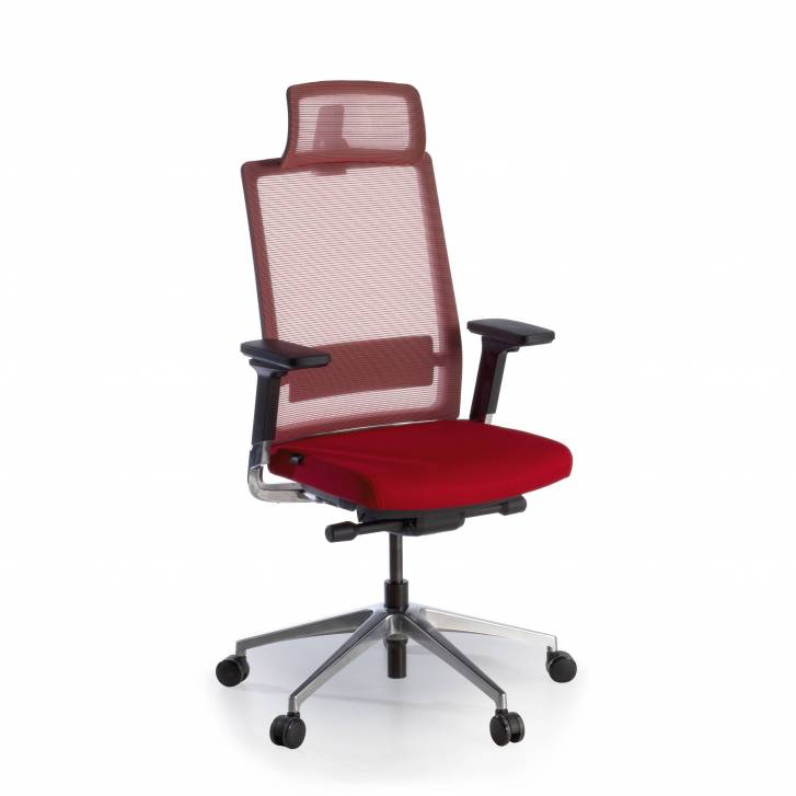Physix chair with headrest red