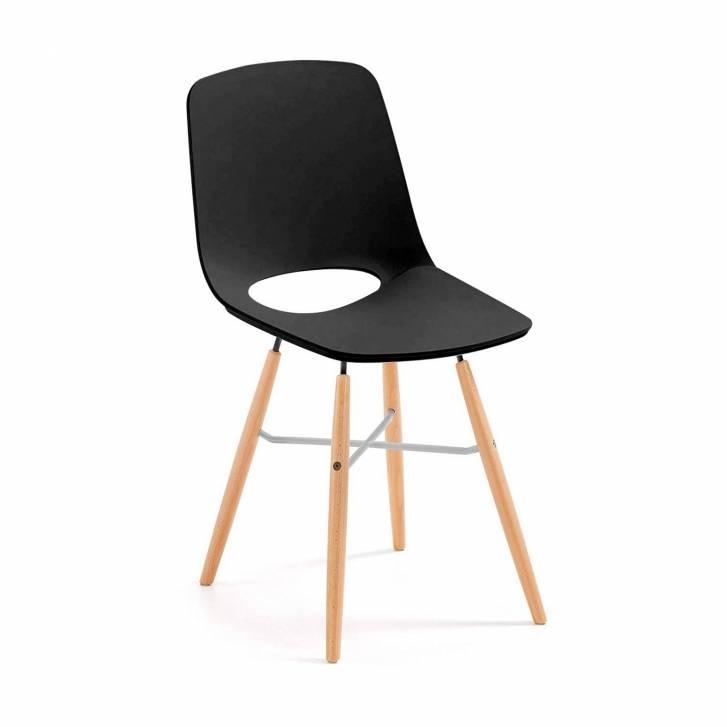 Joy Chair Wooden Legged Black